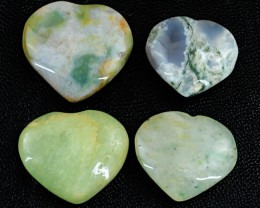 Genuine 94.50 Cts Moss Agate & Jade Heart Shaped Cab Lot