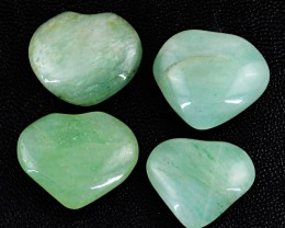 Genuine 77.50 Cts Green Jade Heart Shaped Cab Lot