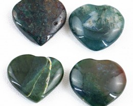 Genuine 112.00 Cts Moss Agate Heart Shaped Cab Lot