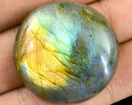 Genuine 84.30 Cts Round Shaped Labradorite Cab