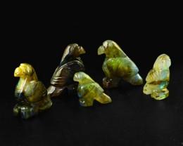Genuine 179.45 Cts Labradorite Hand Carved Bird Family