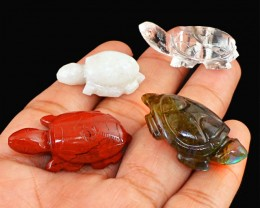 Genuine 135.95 Cts Hand Carved Turtle Family