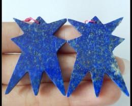 51Ct Natural Lapis Lazuli Earring Beads,Carved Gemstone Earring Pair