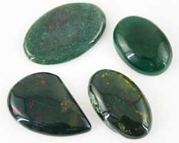 Genuine 108.35 Cts Untreated Blood Green Jasper Cab Lot