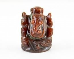 Genuine 50.50 Cts Carved Jasper Ganesha