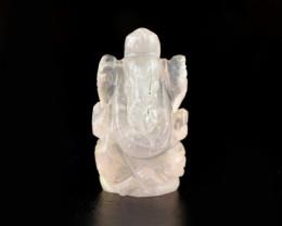 Genuine 43.50 Cts Pink Rose Quartz Carved Ganesha