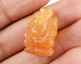 Genuine 33.50 Cts Orange Aventurine Carved Ganesha
