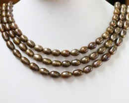 540.05 cts Three Chocolate OVAL Pearl strands  GOGO 1175