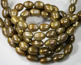 499.60 cts Three Chocolate OVAL Pearl strands  GOGO 1174