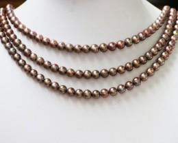 401.35 cts Three Chocolate Semi Round Pearl strands  GOGO 1180