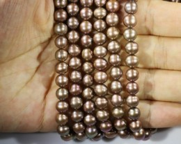 402.65 cts Three Chocolate Semi Round Pearl strands  GOGO 1178