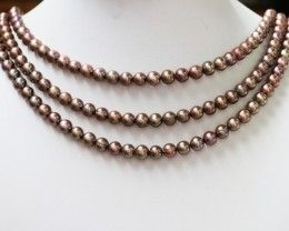 401.95 cts Three Chocolate Semi Round Pearl strands  GOGO 1177