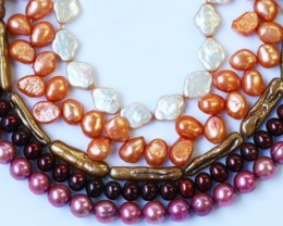 806.75 cts Five Mixed Pearl strands  GOGO 1184