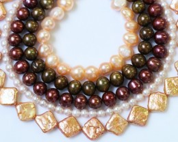 749.65 cts Five Mixed Pearl strands  GOGO 1192