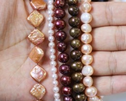 735.75 cts Five Mixed Pearl strands  GOGO 1193