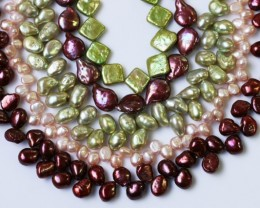 962.45 cts Five Mixed Pearl strands  GOGO 1198