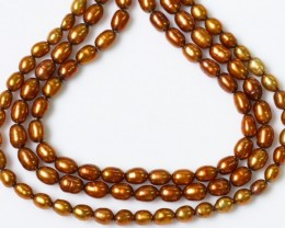 146.00 cts Three Gold Tip Drill Pearl strands GOGO 1205