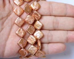 400.65 cts Three Golden Square Coin Pearl strands GOGO 1222