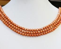 268.20 cts Three Golden Semi Round Pearl strands GOGO 1217