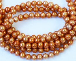 269.40 cts Three Golden Semi Round Pearl strands GOGO 1216