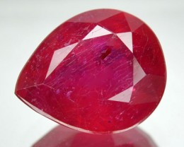 4.35 Cts Natural Blood Red Ruby Pear Cut Thailand Gem