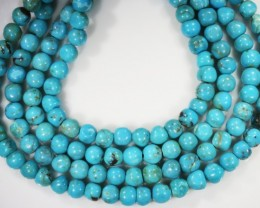 140.60 Cts three Turqupise round bead  strands PPP 716