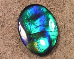 'VERY NICE' Purple Blue & Greens Natural Ammolite Gem Quartz Capped