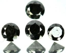 0.55 Cts Natural Black Diamond 4 Pcs Round Cut Africa