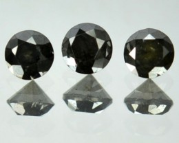 0.54 Cts Natural Black Diamond 3 Pcs Round Africa