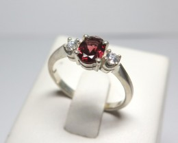 Natural Garnet & CZ 3 Stone Dress Solid 925 Silver Ring