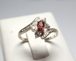Garnet Genuine Natural Stone and Cubic Dress 925 Silver Ring