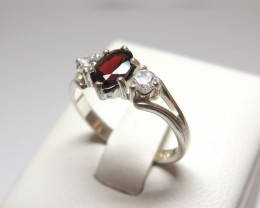 Garnet Genuine Natural Stone & CZ Dress 925 Silver Ring