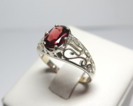 Garnet Genuine Natural Stone 8 x 6mm Dress 925 Silver Ring