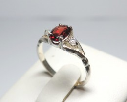 Natural Garnet and  Cubic Zirconia solid 925 Silver Dress Ring