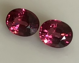 2.14ct DEEP RUBY PINK PAIR OF RHODOLITE GARNETS 6MM
