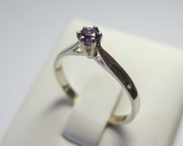 AmethystGenuine Natural Sliver 4mm Dress 925 Silver Ring