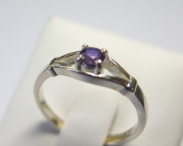 Amethyst Genuine Natural Sliver 4mm Split Dress 925 Silver Ring