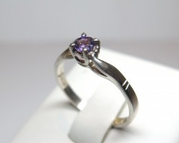 Amethyst Genuine Natural Sliver 4mm Solataire Dress 925 Silver Ring