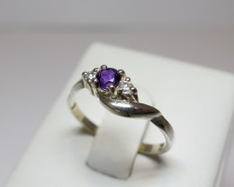Amethyst Genuine Natural Sliver 4mm & CZ Dress 925 Silver Ring