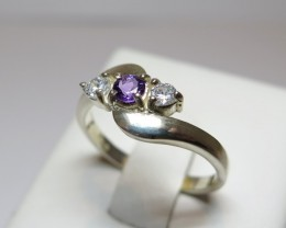 Amethyst Genuine Natural Sliver 3.5mm & CZ Dress 925 Silver Ring