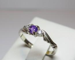 Amethyst Genuine Natural Sliver & CZ Dress 925 Silver Ring