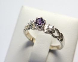 Amethyst Genuine Natural Sliver & CZ Dress 925 Silver Ring