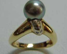 Tahitian Black 9mm Pearl 18k White and Yellow Gold and Diamond Ring