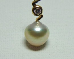 Australian South Sea Pearl & Diamond 18k Yellow Gold Pendant