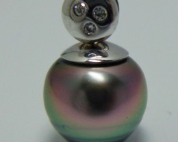 Tahitian Black Pearl Diamond & 18k White Gold Pendant
