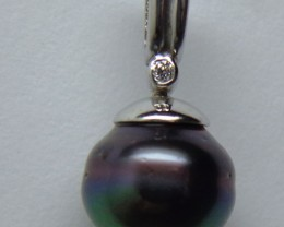 Tahitian Black Pearl 18k White Gold & Diamond Pendant