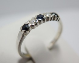 Sapphire Blue Genuine Natural & CZ Dress 925 Silver Bridge Ring