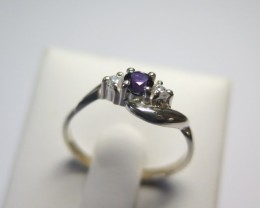 Sapphire Genuine Natural Blue and Cubic Dress 925 Silver Ring
