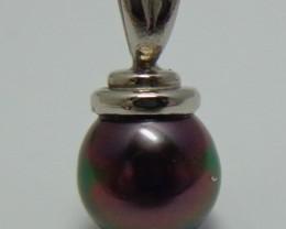 Tahitian Black Pearl 18k White Gold Pendant