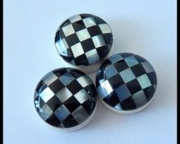 3 PCS Intarsia Gemstone Cabochons Parcel,Shell,Obsidian Intarsia